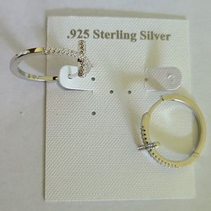 .925 Sterling Silver Cross Hoop Earrings